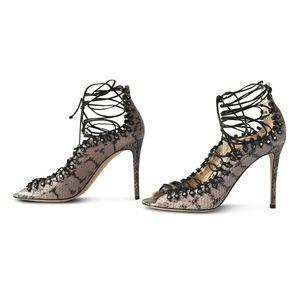 7f7c8dd18d1c Jimmy Choo Shoes - JIMMY CHOO Koko Snakeskin Lace-Up Heels